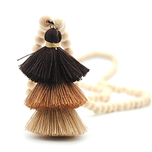 Stebcece Fashion Women Wooden Round Bead with Tassels Long Sweater Chain Pendant Necklace (Coffee)