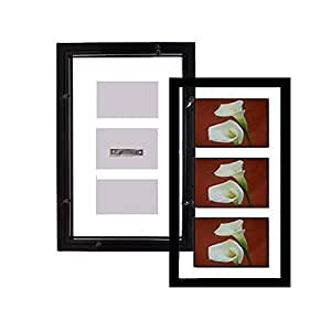 The original FLOAT and DOUBLE-SIDED 4x6/7x15 black stain flexible size wall frame - 4x6