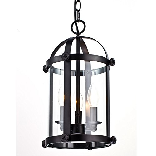 Dazhuan Vintage Clear Glass & Metal Cage Chandelier 3 Lights Pendant Lighting Hanging Lantern Lamp