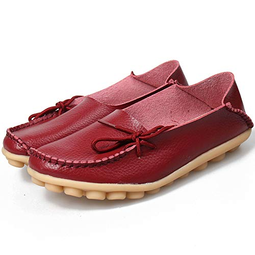 Coach Comfort Slip Breathable Oxfords Leather Moccasins Casual Shoes On Women's Women Wine Loafers Flat Driving wXqWYU