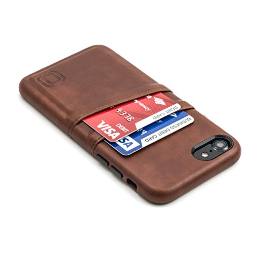 Iphone Executive Case - Dockem Exec Wallet Case for iPhone 8/7 - Slim Vintage Synthetic Leather Card Case with 2 Card/ID Holder Slots; Simple, Professional, Executive Snap On Cover [Brown]