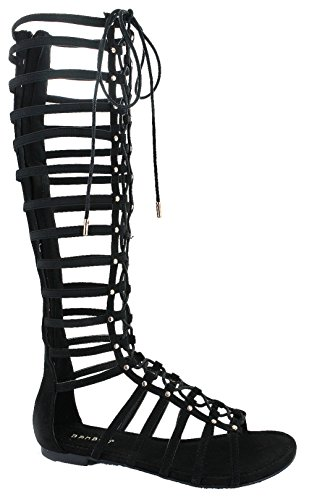 Candice 57M Flat Caged Gladiator Sandals Black 11
