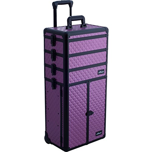 Sunrise Colonne 2-In-1 Rolling Makeup Case Professional Nail Travel Organizer Box, Purple Diamond, 25 Pound by SunRise
