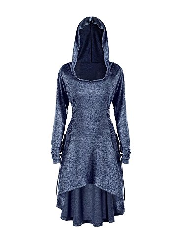 Gemijack Womens Long Sleeve Hoodie Dress High Low Lace Up Medieval Midi Dresses