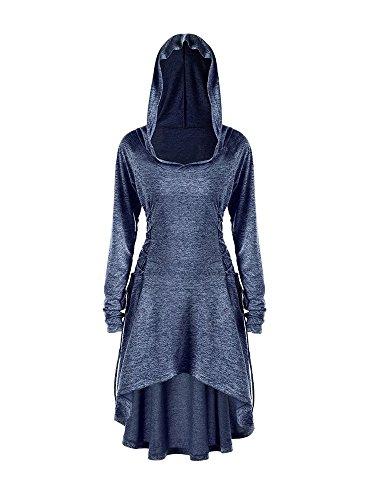 (Gemijack Womens Halloween Costumes Medieval Renaissance Costume Long Sleeve Cosplay Hoodie Dress Cloak)