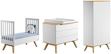 Vox Pack Cuna 70 x 140 Blanco + colchón + cómoda Cambiador 3 cajones + Armario 2 Puertas Collection Nature: Amazon.es: Hogar