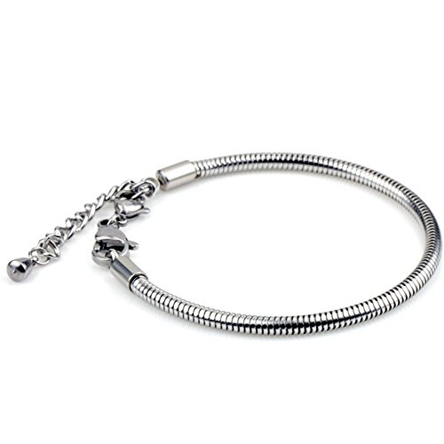 N.egret Silver-Tone Adjustable Stainless 3mm Snake Bracelet Fits European Bead Charm with 17mm Pear Trigger Lobster Clasp