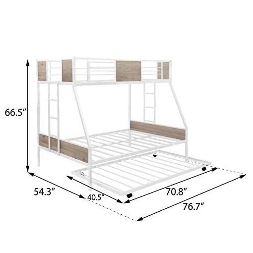 Bedroom Twin Over Full Bunk Beds with Trundle ,Heavy Duty Metal Bed Frame with Safety Rail Side Ladders for Dormitory Bedroom… bunk beds