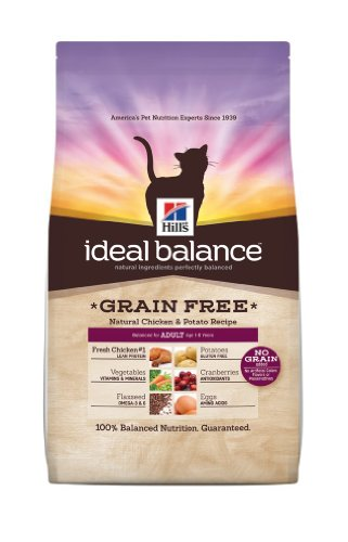 Hill's Ideal Balance Grain Free Natural Chicken and Potato Recipe Adult Cats Dry Food Bag, 11-Pound, My Pet Supplies