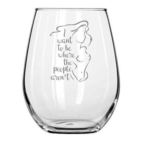 Mermaid Ariel - I Want to be Where the People Aren't ★ Disney Princess Wine Glass ★ Funny Gift ★ Birthday Present ★ Anniversary Gifts ★ Couples ★ Handmade ★ Engagement ★ Introvert Humor (People Glass)