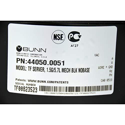 Bunn 44050.0051 TF 1.5 Gal Black ThermoFresh Coffee Server Dispenser New Open Box by Bunn (Image #3)