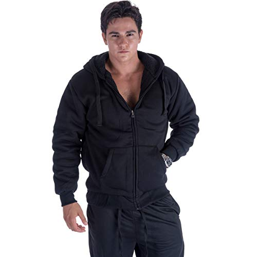 Leehanton Mens Zip Up Hoodie Sherpa Lined Black Plus Size Winter Long Sleeve ()