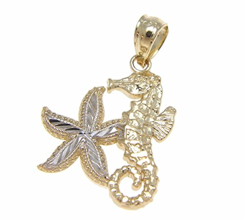 14K solid yellow white gold diamond cut Hawaiian seahorse starfish charm pendent ()