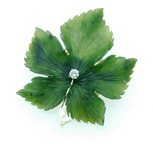 - 14k Yellow Gold Carved Nephrite Jade Leaf Brooch with Diamond (#J4360)