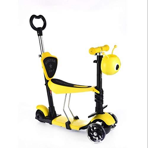 DMMW Scooter per Bambini a Tre Ruote Lampeggianti per Bambini a Cinque Ruote monoposto scivolanti e Multifunzione ( Colore   giallo )