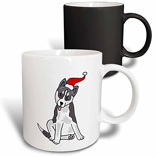 - 3dRose 220501_3 Funny Grey Siberian Husky Dog In Santa Hat Christmas Art Mug, 11 oz, Black/White