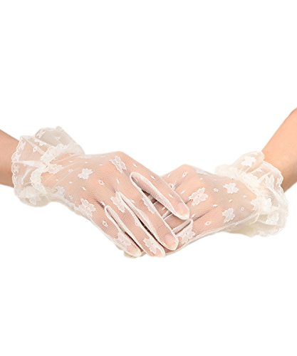 Floral Lace Gloves - AbaoWedding Women's Lace Floral Elegant Wedding Bride Evening Party Gloves (Ivory)