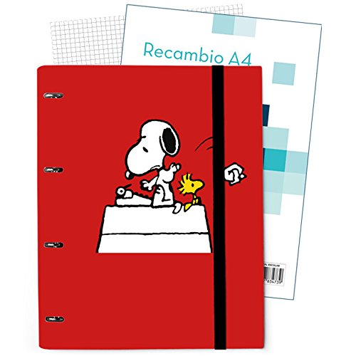 26x32cm Erik Avec feuilles et intercalaires Carpeblock 4 anneaux Snoopy Couverture rigide