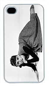 Audrey Hepburn Style PC White Case Cover for iPhone 4 4S