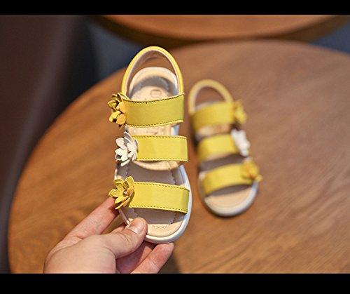 Sommer Baby Mädchen Schuhe Drei Blumen Wohnungen Sandalen für Mädchen Gelb