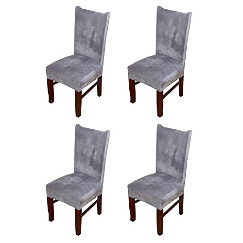 Hemons 4 X Universal Stretch Fox Pile Fabric Chair Covers Removable Washable Ceremony Hotel Dining Room Kitchen Bar Dining Seat Cover Restaurant Wedding Part Decor (Grey) (Seat Covers Chair Bar)