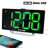 "Large Alarm Clock 9"" LED Digital Display Dual Alarm with USB Charger Port 0-100 Dimmer for Seniors Simple Bedside Big Number Green Alarm Clocks for Bedrooms"