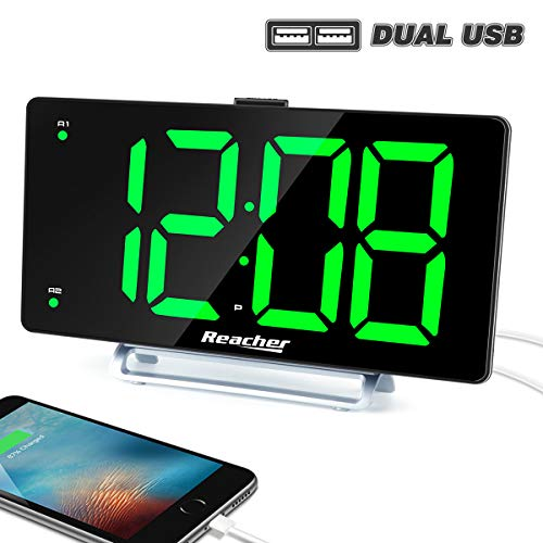 LED Digital Display Dual Alarm with USB Charger Port 0-100 Dimmer for Seniors Simple Bedside Big Number Green Alarm Clocks for Bedrooms ()