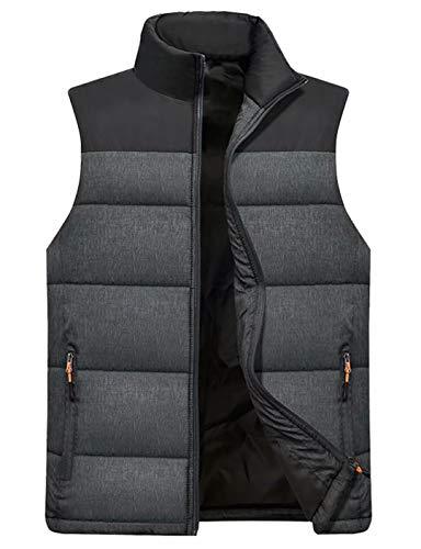Vcansion Men's Outdoor Casual Stand Collar Padded Vest Lightweight Down Cotton Jacket Coat Vest Black+Dark Grey XL