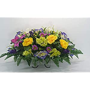 R44 Hydrangea Rose and Mixed Bush Cemetery Flower Arrangement, Headstone Saddle, Grave, Tombstone Arrangement, Cemetery Flowers 72