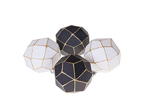 Clever Creations Christmas Ornament Ball Set Black and White with Gold Glitter | 4 Pack | Festive Holiday Décor | Geometric Sphere| Classic Design | Shatter Resistant | Hangers Included -