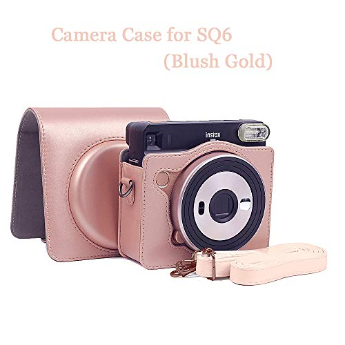 Camera Case, Protective Case Compatible with Fujifilm Instax Square SQ6 Instant Camera, Premium Vegan Leather Bag Cover with Removable Strap (Blush Gold)
