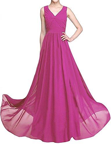 Weinrot Damen Kleider Abendkleider Lang Partykleider La Pink Jugendweihe Brautjungfernkleider mia Braut Chiffon Fqx7nwaZH