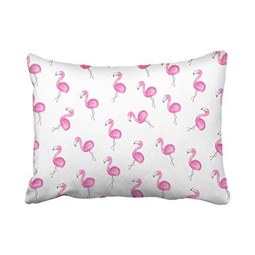 Emvency Decorative Throw Pillow Cover Standard Size 20x26 Inches Girly Ordered Pink Flamingo Patterns White Backgroound Cotton Decor Pillowcase With Hidden Zipper Decor Cushion Covers (Skull Cross Pink Flowers)