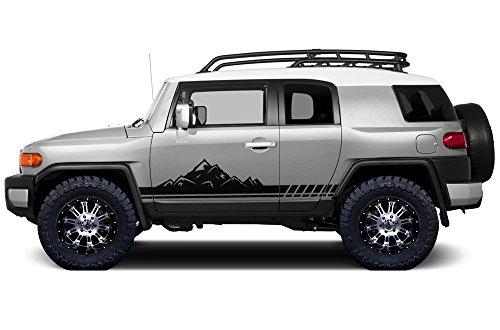 (Factory Crafts Mountain Side Stripe Graphics Kit 3M Vinyl Decal Wrap Compatible with Toyota FJ Cruiser 2007-2014 - Matte Black)