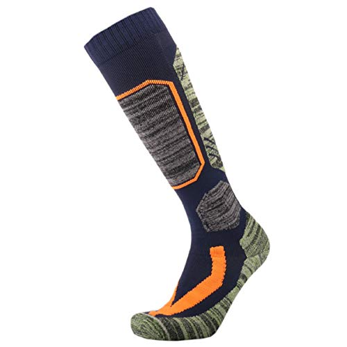 High Performance outdoor Ski Socks,Extra Warm Knee Snow Skiing Snowboard Socks (Blue, US 9-US 12)