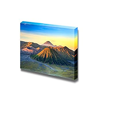 Beautiful Bromo Volcano Mountain Landscape in Tengger Semeru National Park at Sunrise East Java Indonesia Wood Framed - Canvas Art Wall Art - 16