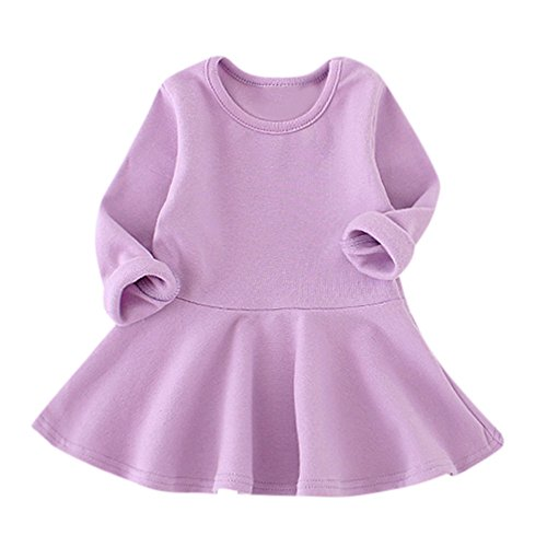 (haoricu Baby Girls Candy Color Cozy Ruffles Long Sleeve Solid Princess Toddler Kids Dress)