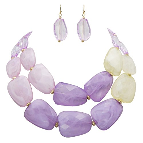 - Rosemarie Collections Women's Ombre Polished Resin Statement Necklace Earring Set (Lavender Purple)