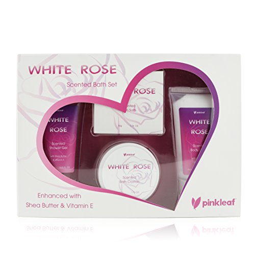 White Rose Shower Gel (Bath and Body Set - Spa Gift Basket Love White Rose Fragrance by Pinkleaf - Bath and Body Gift Set Floral Scented Shower Gel & Lotion with Shea Butter & Vitamin E, Crystals)