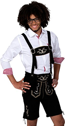 Almwerk Herren Trachten Lederhose kurz Modell Hipster, Farbe:Schwarz;Lederhose Größe Herren:48