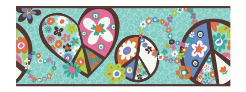 York Wallcoverings PW3918B Girl Power 2 Peace Sign Border, Teal Background/Brown Band (Roll Border Sign)