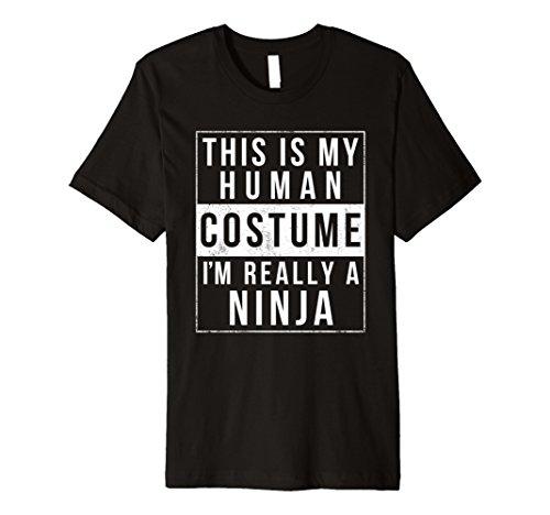 Mens Ninja Halloween Costume TShirt Funny Easy for Kids Adults Large (Easy Ninja Costume)