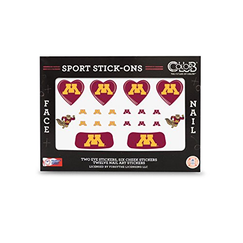 MINNESOTA GOPHERS FACE AND NAIL SPORT STICK ONS-UNIVERSITY OF MINNESOTA TATTOOS