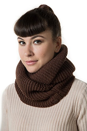 Marino's Women's Cable Knit Infinity Scarves, Fashion Winter Circle Scarf Wrap - Brown