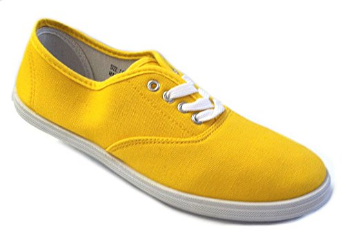 Shoes 18 Womens Canvas Shoes Lace up Sneakers 18 Colors Available (9 B(M) US, Yellow 324)