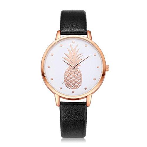 (Swyss Women's Simple Fashion Watch Cute Pineapple Pattern Dial Leather Analog Quartz Wrist Watch Chic Sweet Style (D))