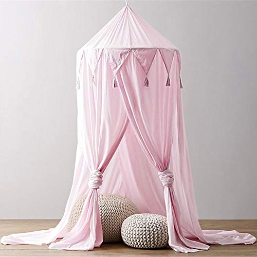 Dome Bed Canopy Netting Cotton Linen Tassel Princess Curtain Mosquito Net Hanging Decoration Indoor Game House Bedding for Girls Baby Kids (pink) by DaoAG-Bedroom