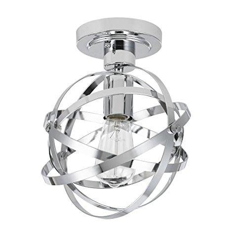 (Catalina Lighting 20666-001 Orbit Chrome Metal 1-Light Orb Semi Flushmount,)