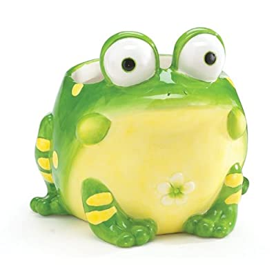 Toby The Toad Planter/Vase Adorable Frog Planter : Garden & Outdoor