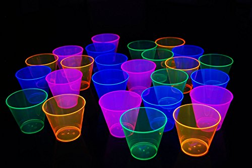 50ct Blacklight Reactive 9oz Party Cups with 5 Blacklight Balloons (Neon -